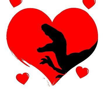Dino Trex Valentines Day T shirt by 3familyllc