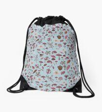 woodland winter pattern Drawstring Bag