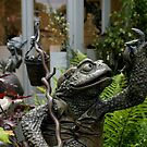 Amazing Bronze Sculpture of garden toad and his lunch by BronReid