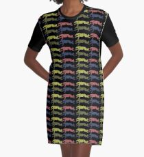 coursing borzoi all over! colorful Graphic T-Shirt Dress