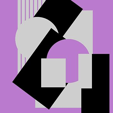 Geometrical abstract art deco mash-up gray purple by aapshop