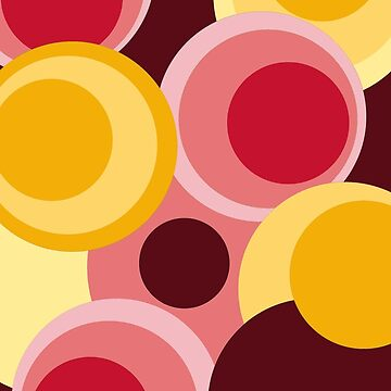 Retro big modern colorful circles red yellow pink pattern by aapshop
