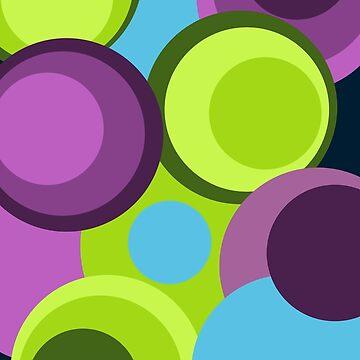 Retro big modern colorful circles green purple pattern by aapshop