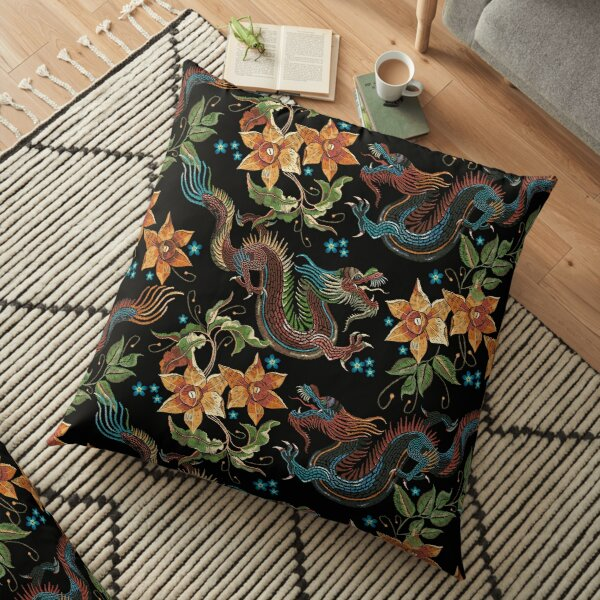 Dragons and narcissus Floor Pillow