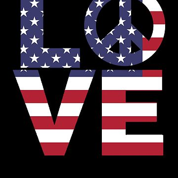 Peace and Love American Flag by LarkDesigns