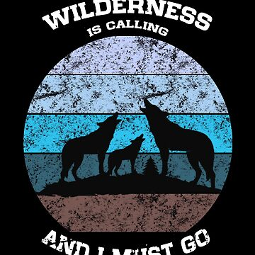 Wilderness Calling Wolves Howling Distressed Icy Blue by LarkDesigns