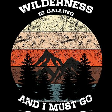 Vintage Sunset Wilderness Calling Distressed Mountains by LarkDesigns
