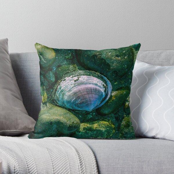 Seashells and Mossy Rocks  Throw Pillow