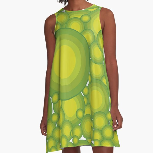Green circles in 70s style overlapping A-Line Dress