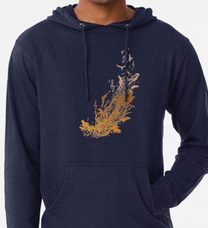 Goldene Feder mit Vögeln und Musiknoten Leichter Hoodie