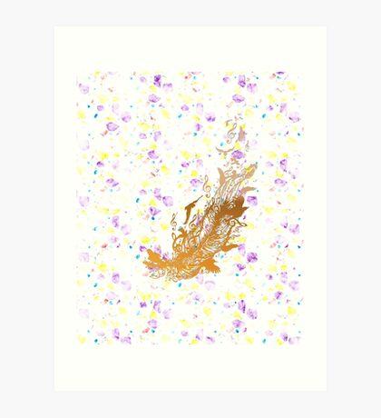 Goldene Feder mit Vögeln und Musiknoten Kunstdruck