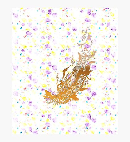 Goldene Feder mit Vögeln und Musiknoten Fotodruck