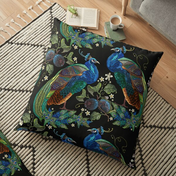 Embroidery peacocks Floor Pillow