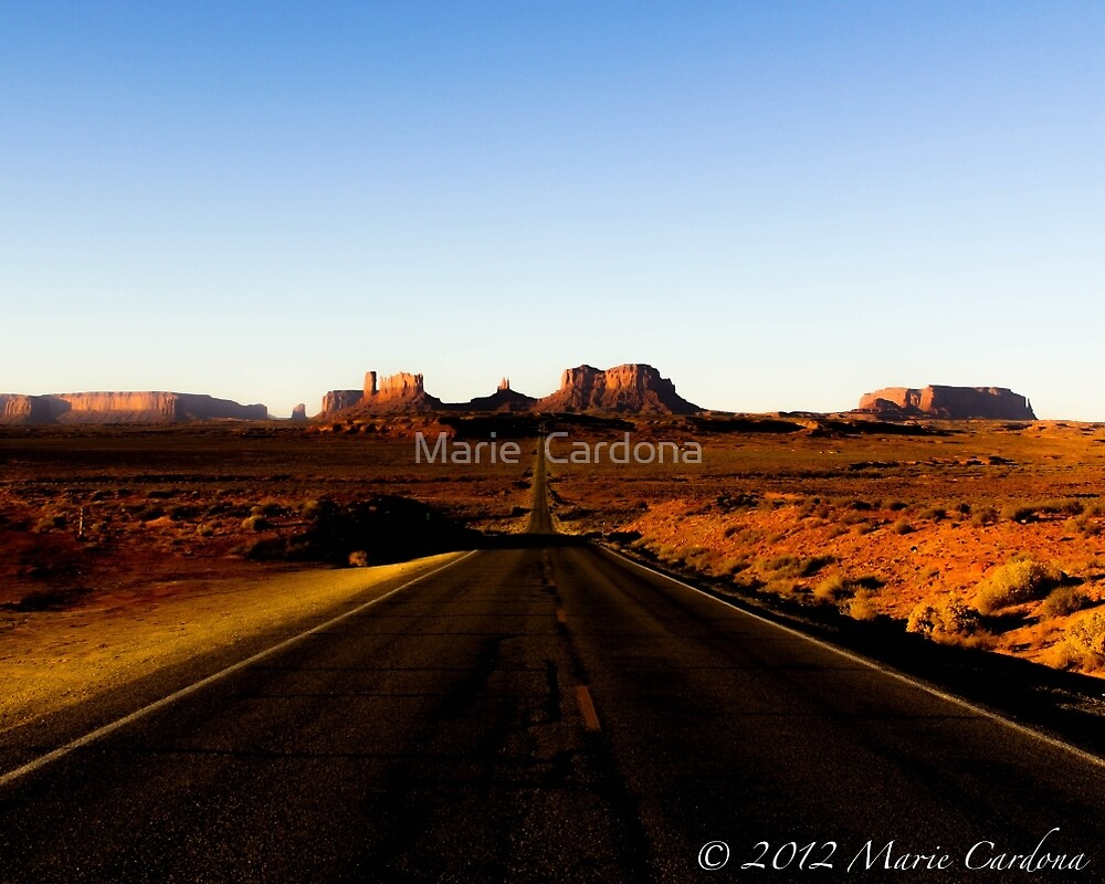Road to Monument Valley by Marie  Cardona