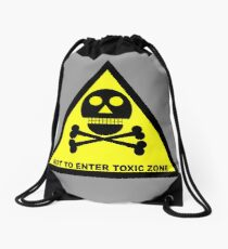 Do Not Enter, Toxic Zone, by Chillee Wilson Drawstring Bag