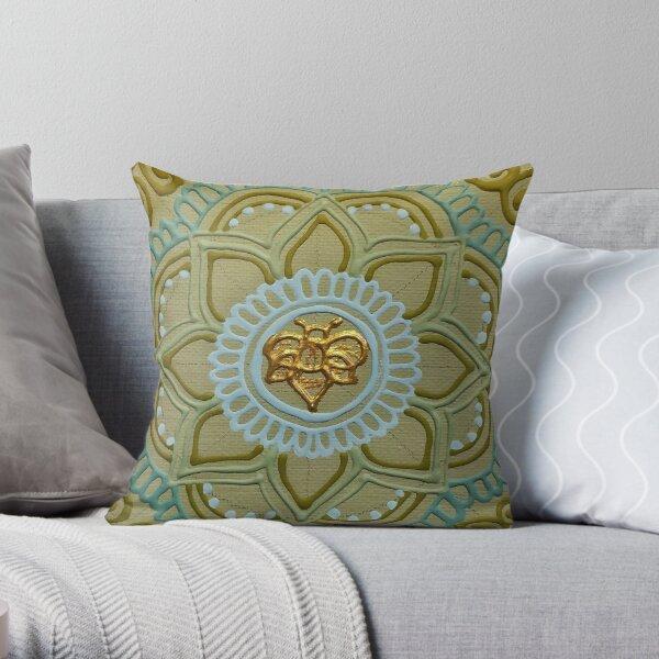 Khaki Blue Bee Mandala Throw Pillow