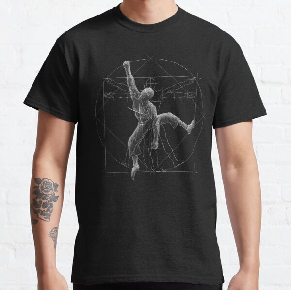 Kletterer Boulderer Vitruvianischer Mensch Classic T-Shirt