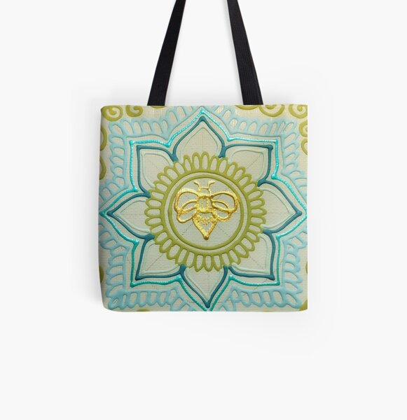 Gold Greens Bee Mandala All Over Print Tote Bag