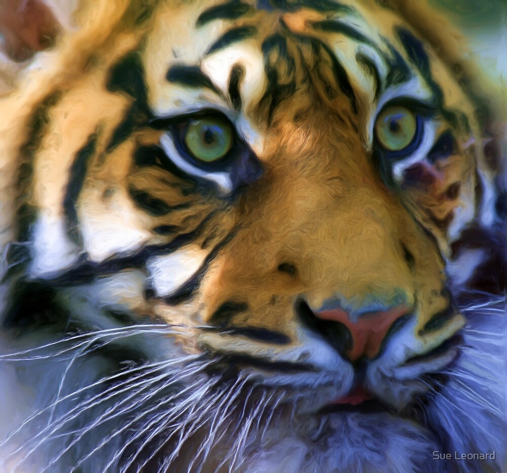 Sumatran Tiger - pseudo oil painting by Sue Leonard