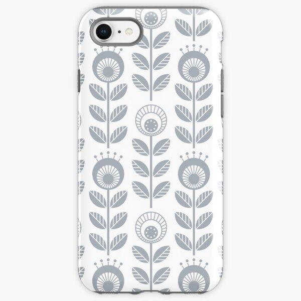SCANDI GARDEN 01-3, silver grey on white iPhone Tough Case