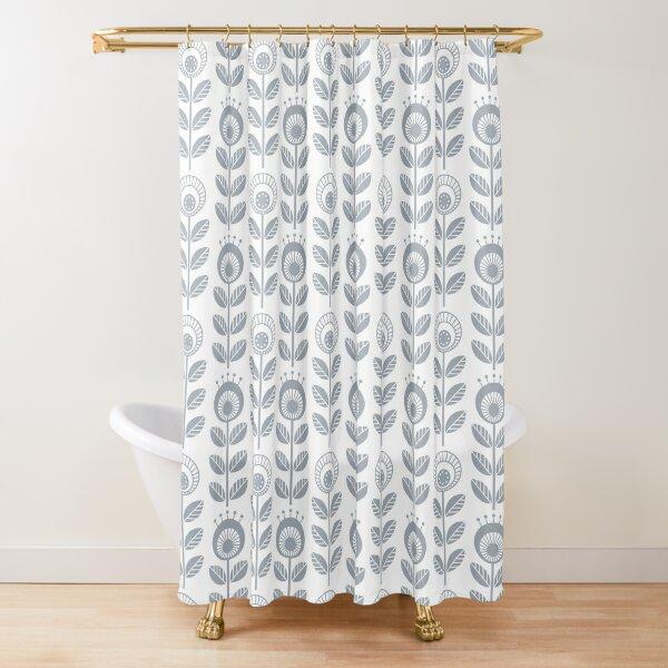 SCANDI GARDEN 01-3, silver grey on white Shower Curtain