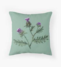 Thistle on Sage green  Throw Pillow