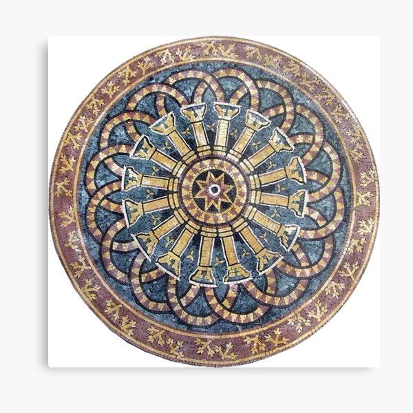 #decoration, #pattern, #art, #craft, #antique, ornate, design, flower, mosaic, aztec, abstract, chakra, circle, geometric shape, retro style, arabic style, textured, old-fashioned, square, diy Metal Print