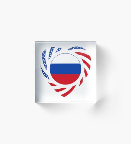 Russian American Multinational Patriot Flag Series 2.0 Acrylic Block