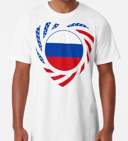 Russian American Multinational Patriot Flag Series 2.0 Long T-Shirt