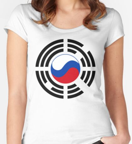 Korean Russian Multinational Patriot Flag Series Fitted Scoop T-Shirt