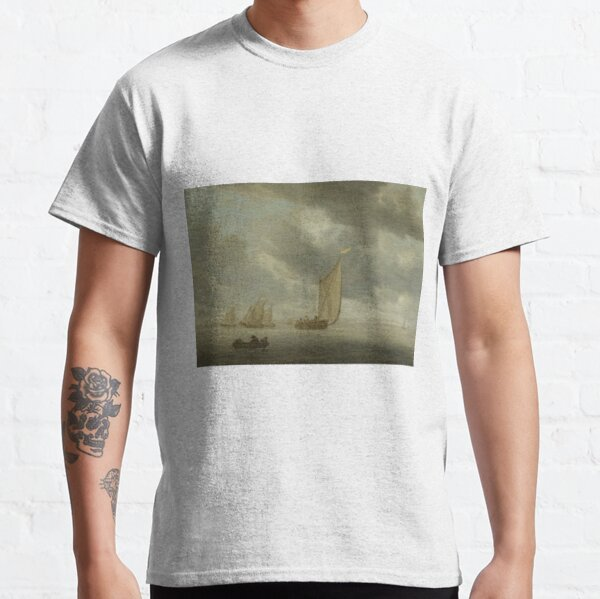 Sailing Ships on Wide Inland Water by Salomon van Ruysdael Classic T-Shirt