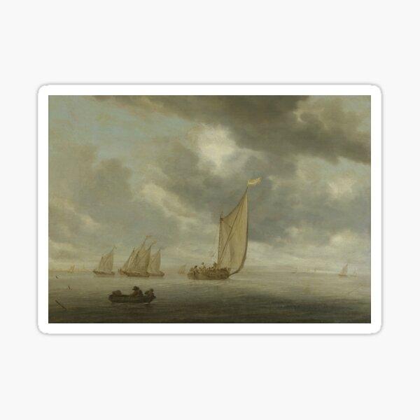 Sailing Ships on Wide Inland Water by Salomon van Ruysdael Sticker