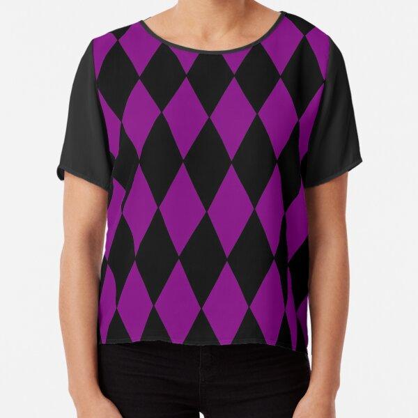 harlequin diamonds black purple Chiffon Top