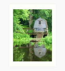 Boathouse on the Lake as pseudo oil painting Art Print