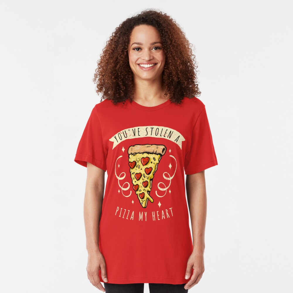 Stolen Pizza My Heart Funny Valentines Day Quotes Gift Slim Fit T-Shirt