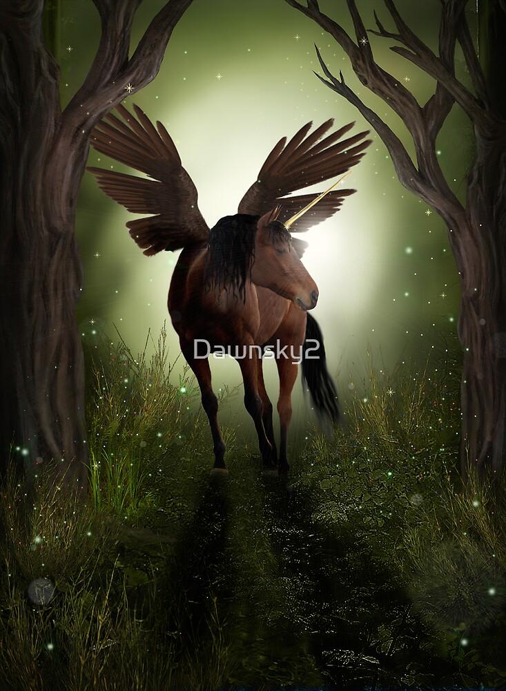 Pegasus in Woodland by Dawnsky2