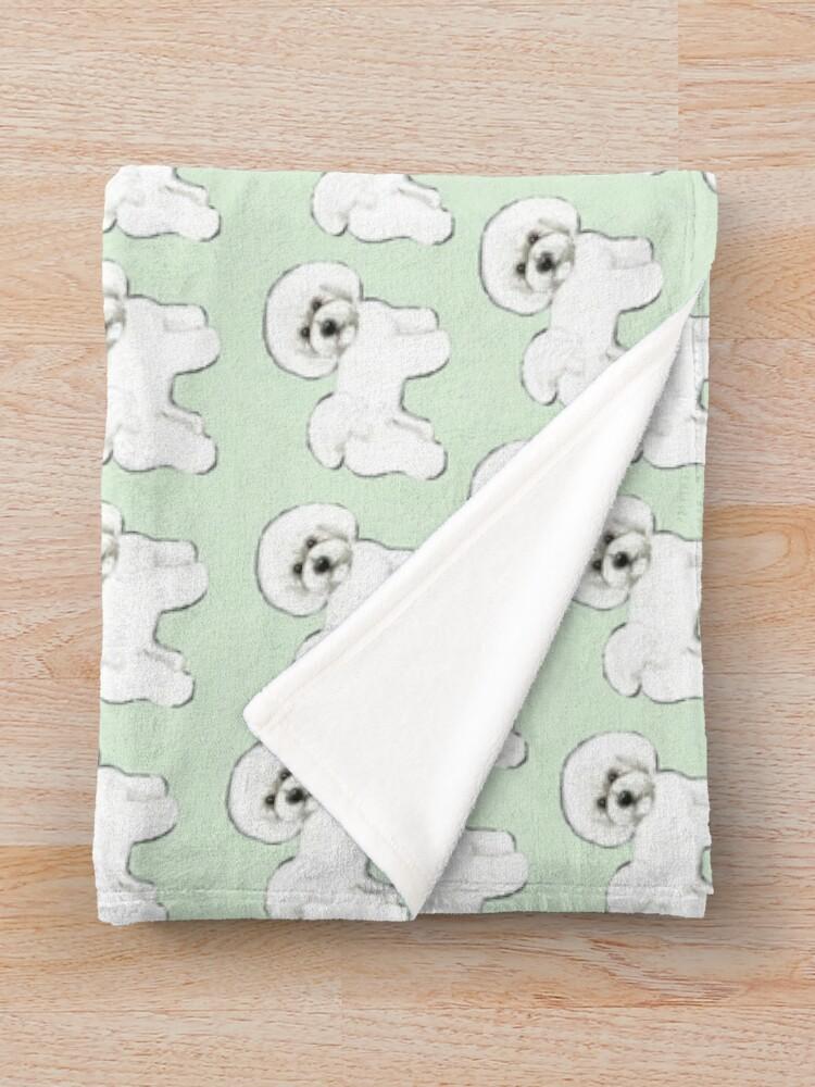 Alternate view of Bichon Firise dogs on mint Throw Blanket