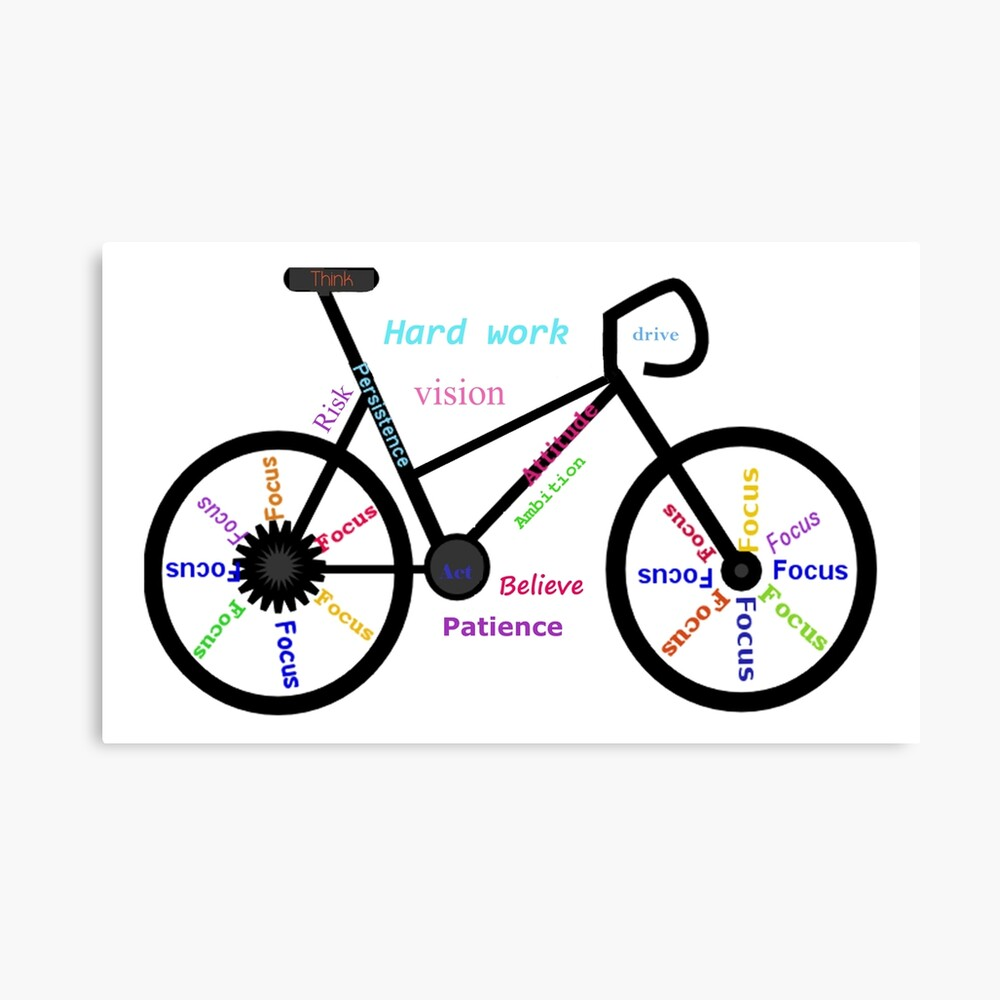 Motivational Words, Biking, Cycling, Bike Canvas Print