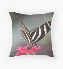 Black & white Zebra longwing (Heliconius Charitonius)  Throw Pillow