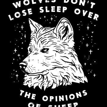 Wolves Sleep Sheep Motivation Saying Moon Night Gift by Netsrikfa