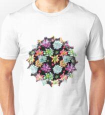 Colorful Succulent Desert Flowers Slim Fit T-Shirt