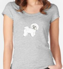 Bichon Frise dog on blue Women's Fitted Scoop T-Shirt