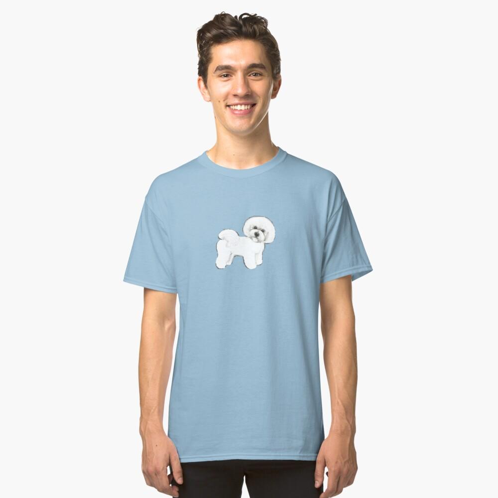 Bichon Frise dog on blue Classic T-Shirt
