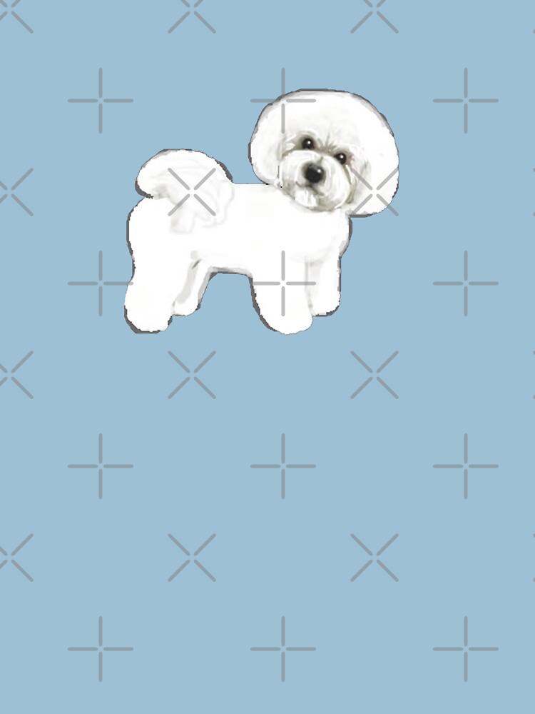 Bichon Frise dog on blue by MagentaRose