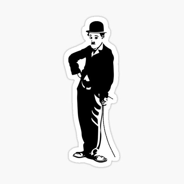 Pose famosa de Charlie Chaplin, diseño de póster, camisetas, impresiones, bolsos, hombres, mujeres, niños Pegatina