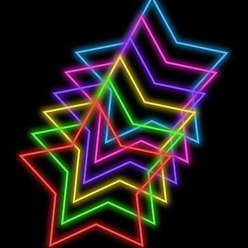 Rainbow Neon Glowing Stars, Large Size Repeating Pattern by nicoletteabides