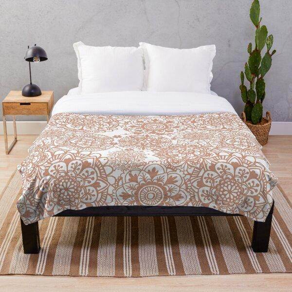 Rose Gold Mandala Pattern Throw Blanket