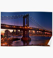 The Brooklyn and Manhattan Bridges at Dusk, USA Poster