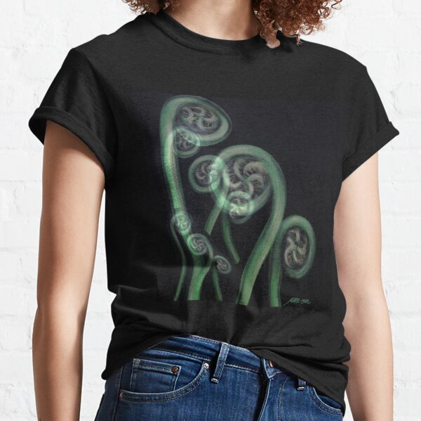 Ferns on Black – Moko Classic T-Shirt