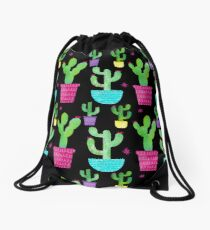 Watercolor Flowering Cactus Pattern on Black Drawstring Bag